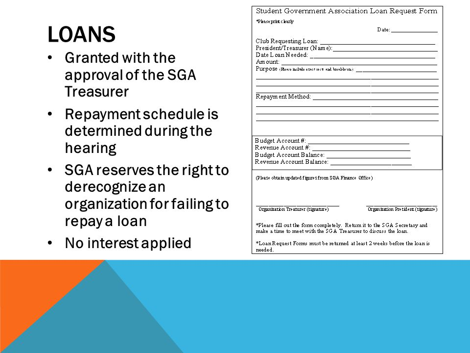 LOANS Granted with the approval of the SGA Treasurer Repayment schedule is determined during the hearing SGA reserves the right to derecognize an organization for failing to repay a loan No interest applied