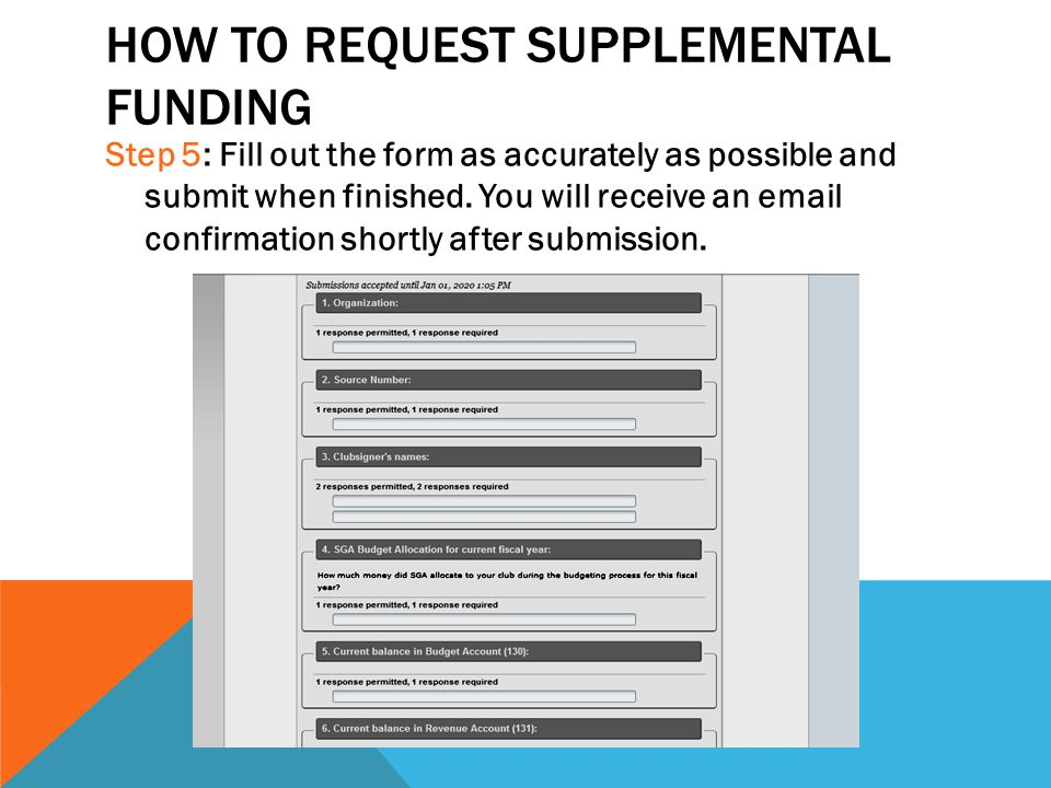 HOW TO REQUEST SUPPLEMENTAL FUNDING Step 5: Fill out the form as accurately as possible and submit when finished. You will receive an email confirmati