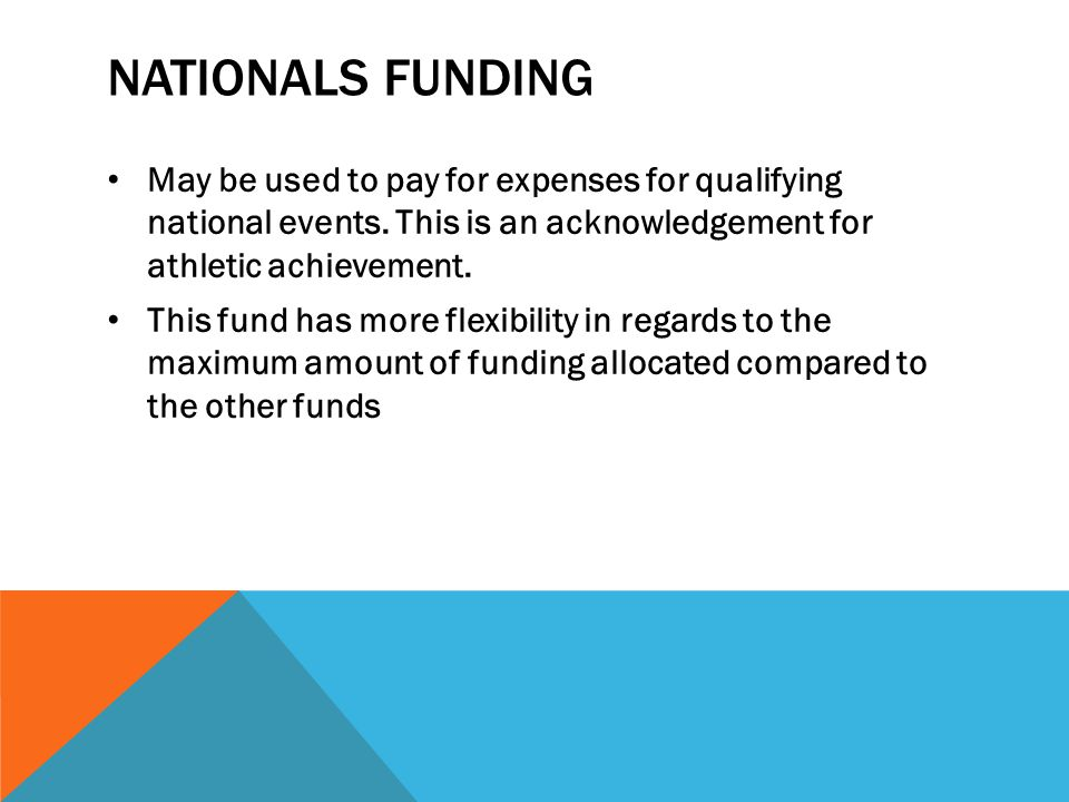 NATIONALS FUNDING May be used to pay for expenses for qualifying national events. This is an acknowledgement for athletic achievement. This fund has m