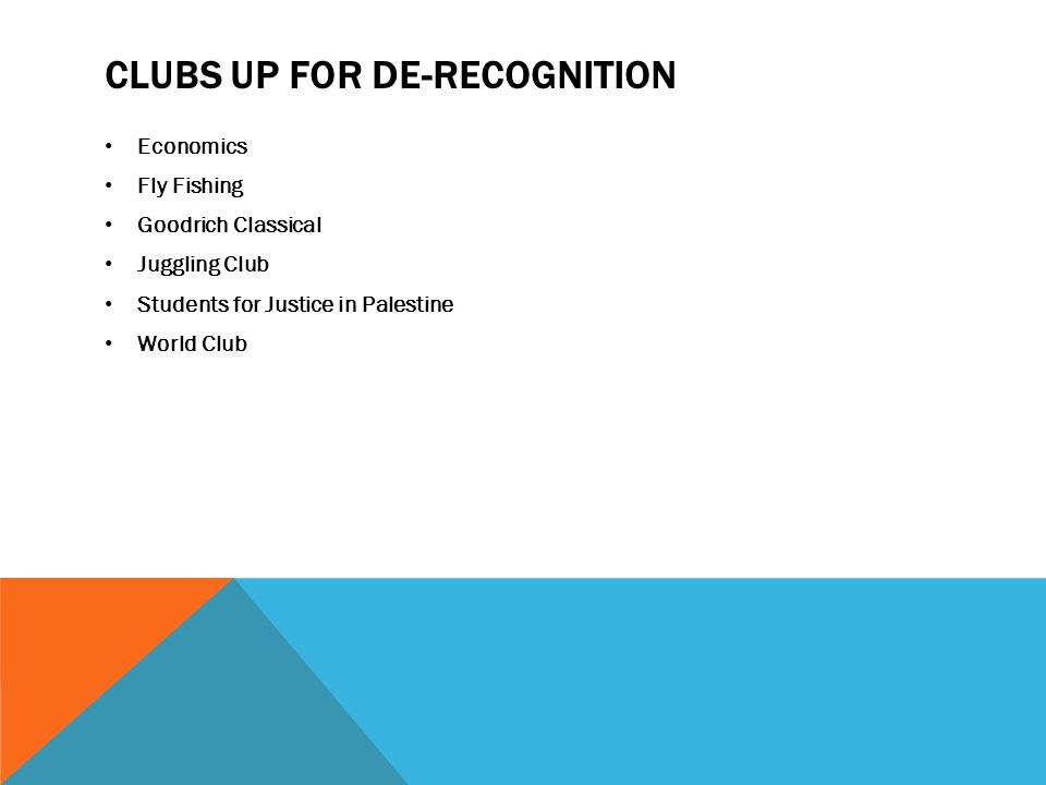 CLUBS UP FOR DE-RECOGNITION Economics Fly Fishing Goodrich Classical Juggling Club Students for Justice in Palestine World Club
