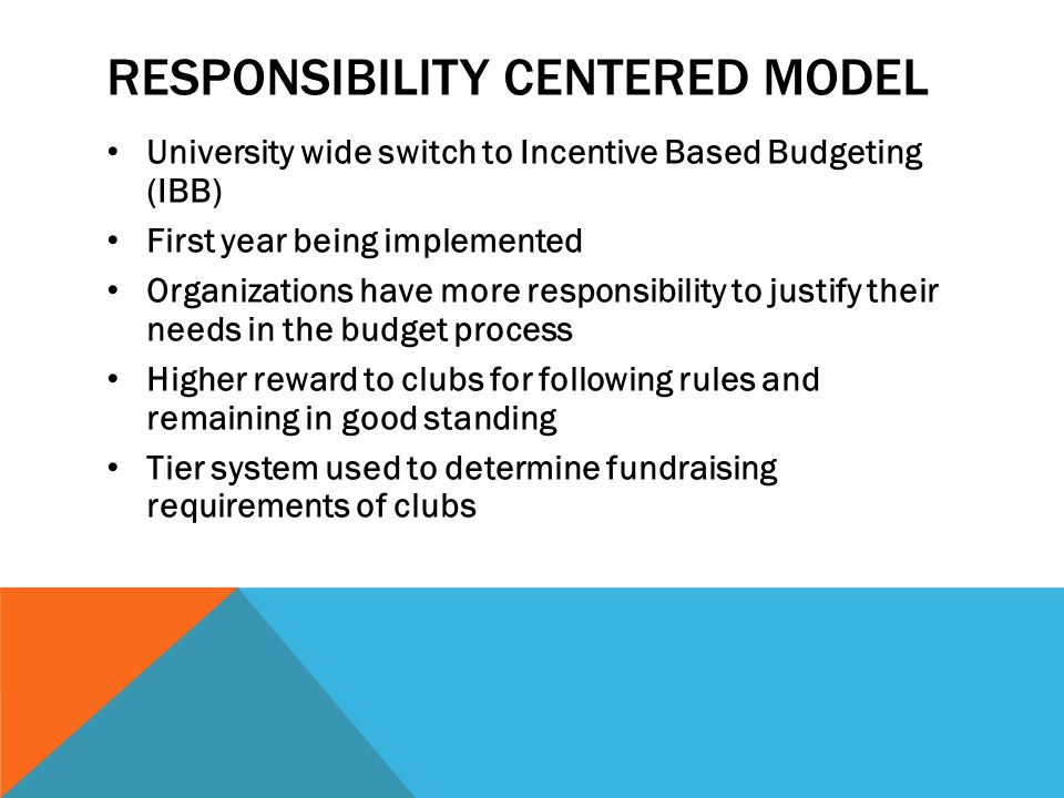 RESPONSIBILITY CENTERED MODEL University wide switch to Incentive Based Budgeting (IBB) First year being implemented Organizations have more responsibility to justify their needs in the budget process Higher reward to clubs for following rules and remaining in good standing Tier system used to determine fundraising requirements of clubs
