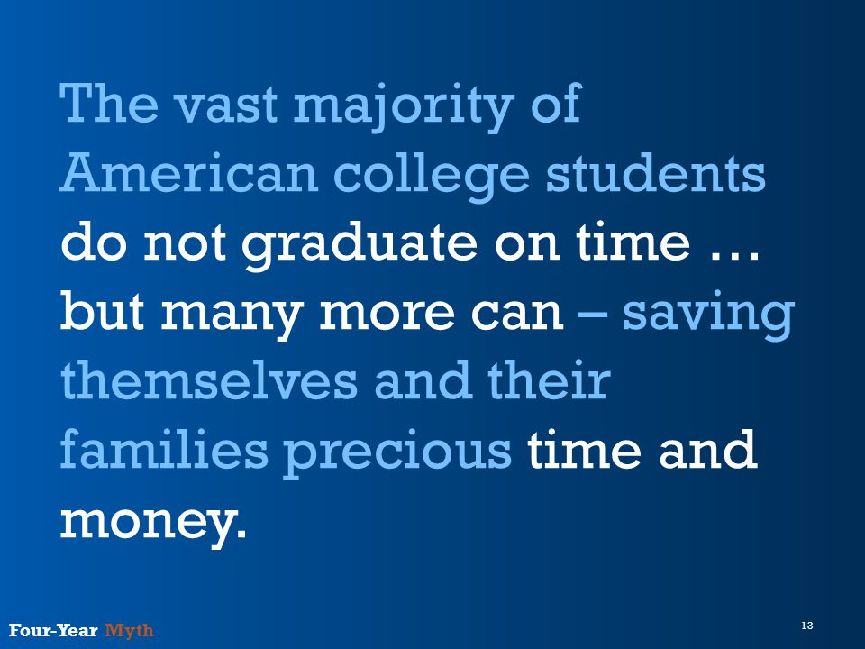 13 Four-Year Myth The vast majority of American college students do not graduate on time … but many more can – saving themselves and their families precious time and money.