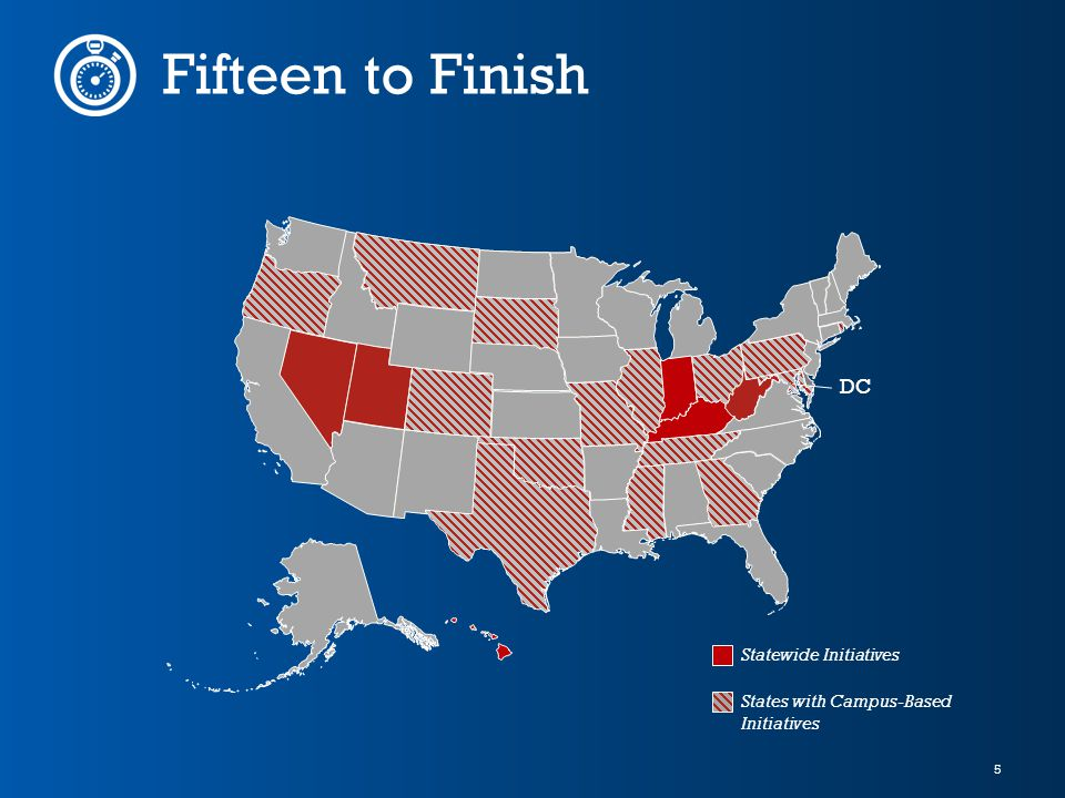 5 Fifteen to Finish DC States with Campus-Based Initiatives Statewide Initiatives