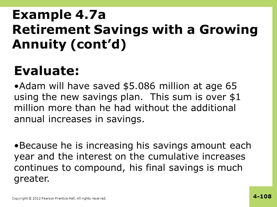 Copyright © 2012 Pearson Prentice Hall. All rights reserved. 4-108 Example 4.7a Retirement Savings with a Growing Annuity (cont'd) Evaluate: Adam will