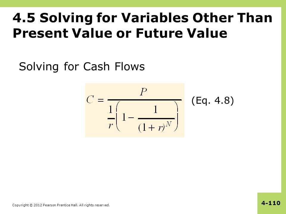 Copyright © 2012 Pearson Prentice Hall. All rights reserved. 4-110 4.5 Solving for Variables Other Than Present Value or Future Value (Eq. 4.8) Solvin
