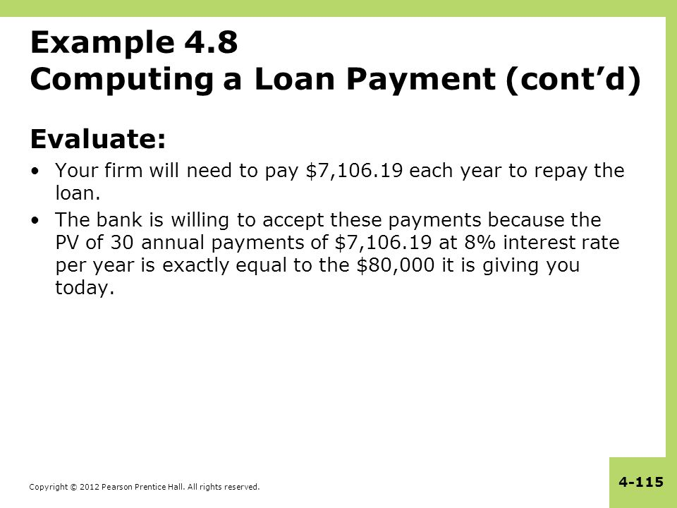 Copyright © 2012 Pearson Prentice Hall. All rights reserved. 4-115 Example 4.8 Computing a Loan Payment (cont'd) Evaluate: Your firm will need to pay