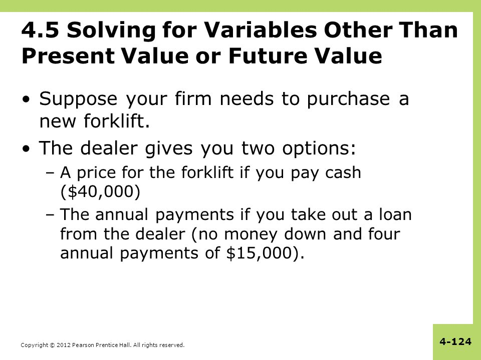Copyright © 2012 Pearson Prentice Hall. All rights reserved. 4-124 4.5 Solving for Variables Other Than Present Value or Future Value Suppose your fir