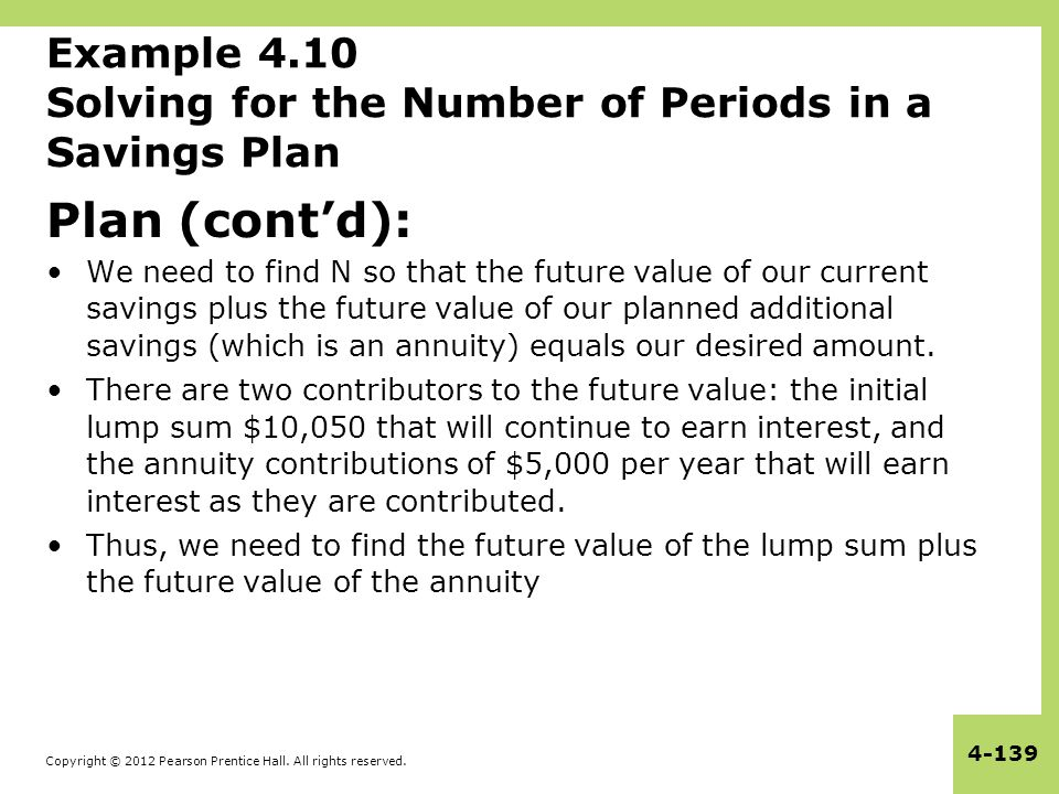 Copyright © 2012 Pearson Prentice Hall. All rights reserved. 4-139 Example 4.10 Solving for the Number of Periods in a Savings Plan Plan (cont'd): We