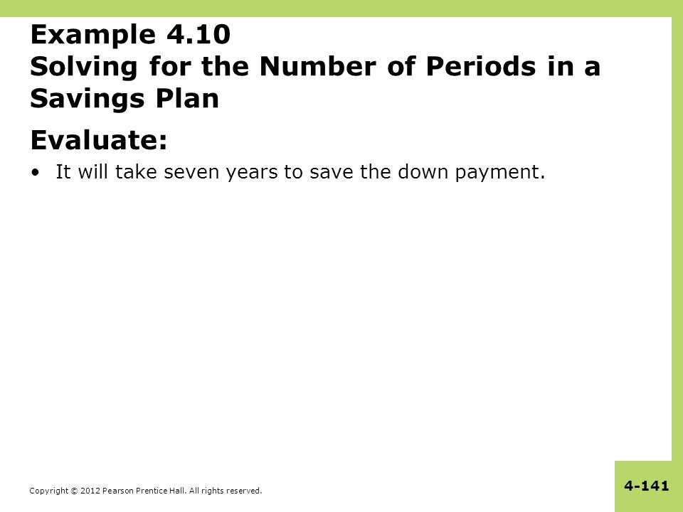 Copyright © 2012 Pearson Prentice Hall. All rights reserved. 4-141 Example 4.10 Solving for the Number of Periods in a Savings Plan Evaluate: It will