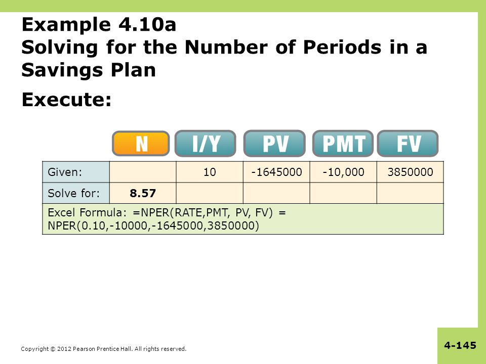 Copyright © 2012 Pearson Prentice Hall. All rights reserved. 4-145 Example 4.10a Solving for the Number of Periods in a Savings Plan Execute: Given:10