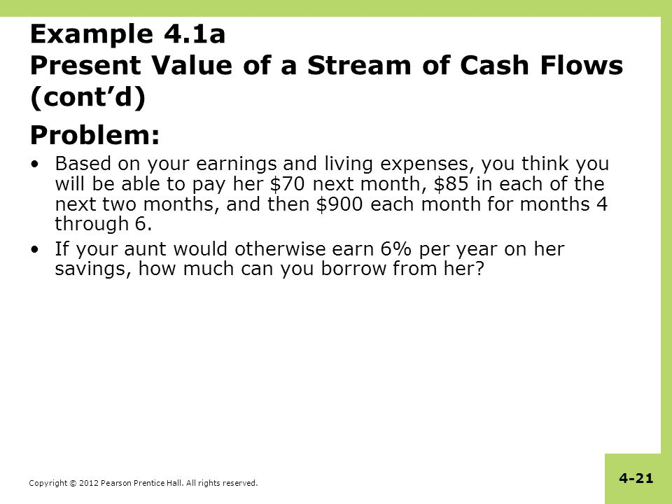 Copyright © 2012 Pearson Prentice Hall. All rights reserved. 4-21 Example 4.1a Present Value of a Stream of Cash Flows (cont'd) Problem: Based on your