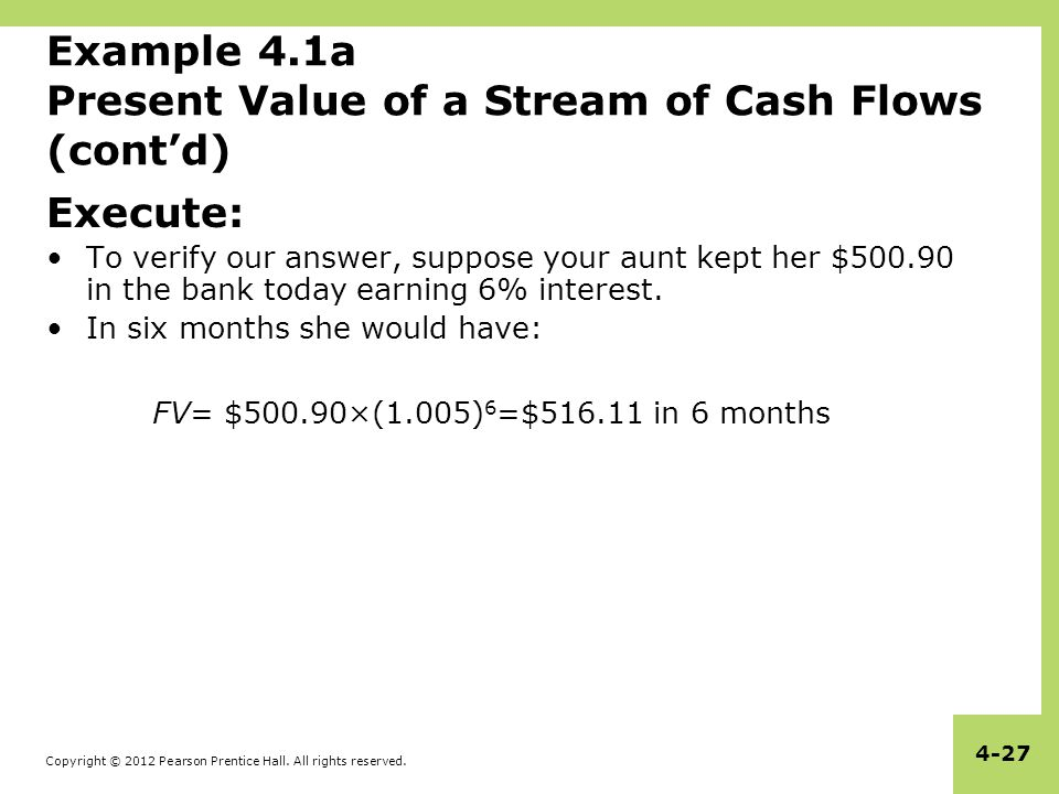 Copyright © 2012 Pearson Prentice Hall. All rights reserved. 4-27 Example 4.1a Present Value of a Stream of Cash Flows (cont'd) Execute: To verify our