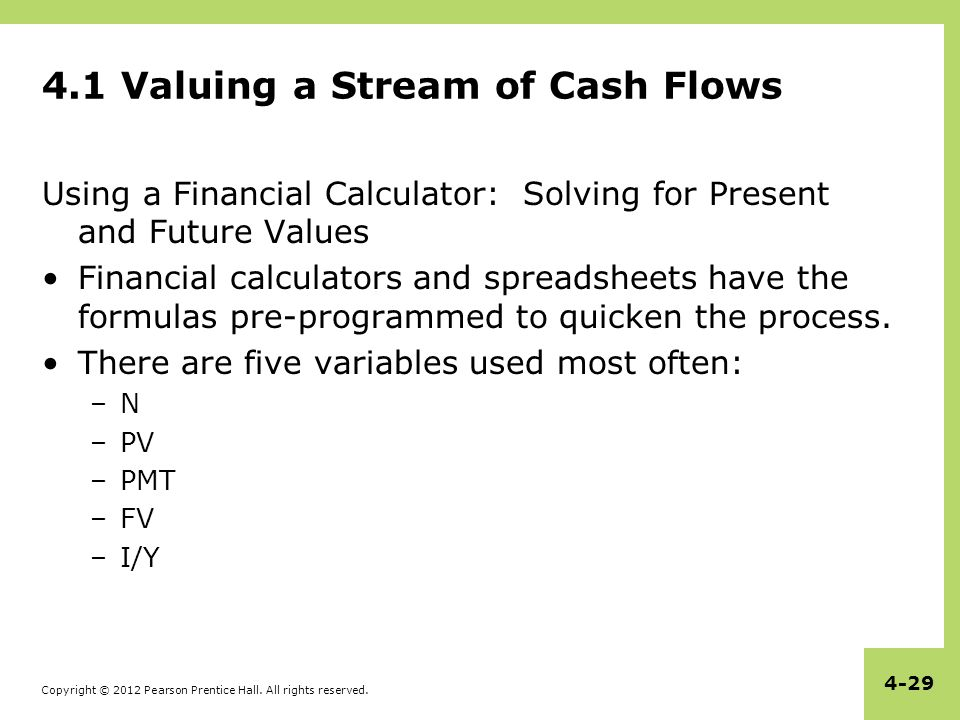 Copyright © 2012 Pearson Prentice Hall. All rights reserved. 4-29 4.1 Valuing a Stream of Cash Flows Using a Financial Calculator: Solving for Present