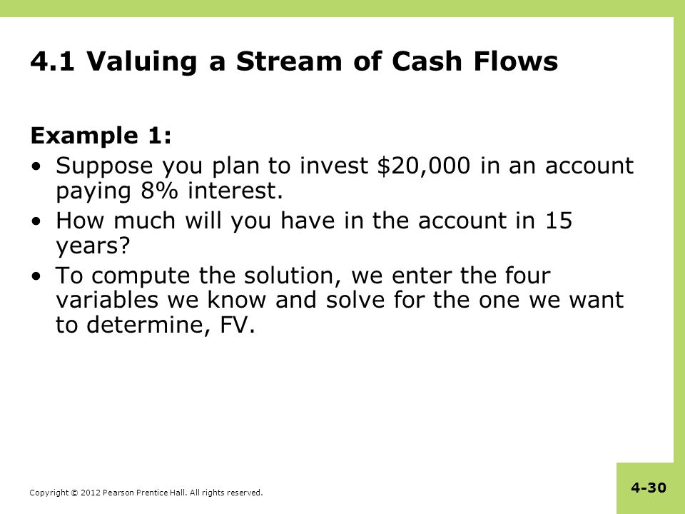 Copyright © 2012 Pearson Prentice Hall. All rights reserved. 4-30 4.1 Valuing a Stream of Cash Flows Example 1: Suppose you plan to invest $20,000 in