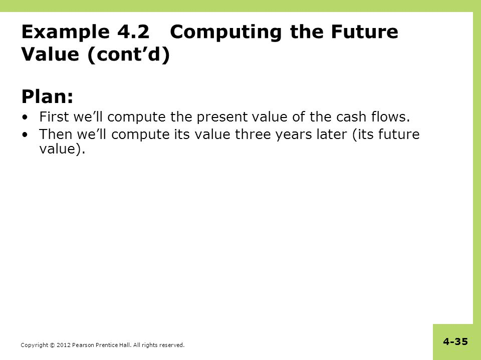 Copyright © 2012 Pearson Prentice Hall. All rights reserved. 4-35 Example 4.2 Computing the Future Value (cont'd) Plan: First we'll compute the presen