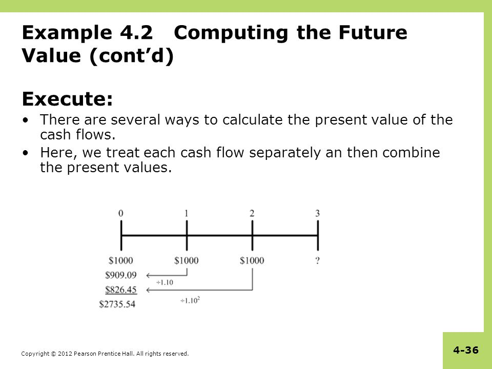 Copyright © 2012 Pearson Prentice Hall. All rights reserved. 4-36 Example 4.2 Computing the Future Value (cont'd) Execute: There are several ways to c