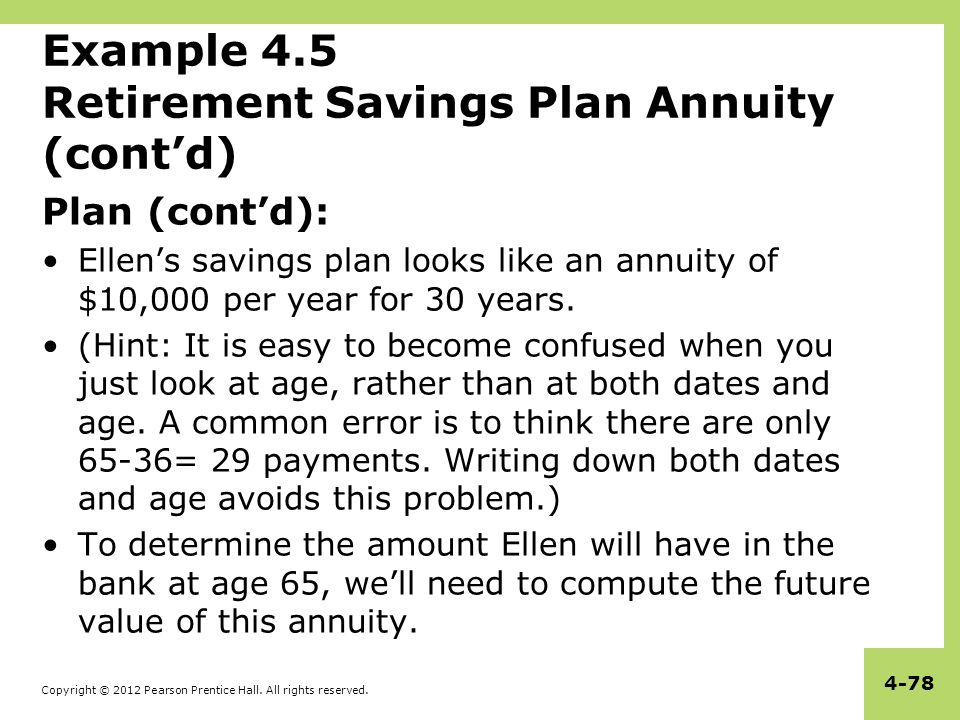 Copyright © 2012 Pearson Prentice Hall. All rights reserved. 4-78 Example 4.5 Retirement Savings Plan Annuity (cont'd) Plan (cont'd): Ellen's savings