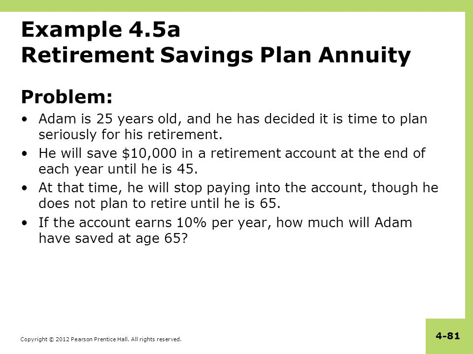 Copyright © 2012 Pearson Prentice Hall. All rights reserved. 4-81 Example 4.5a Retirement Savings Plan Annuity Problem: Adam is 25 years old, and he h