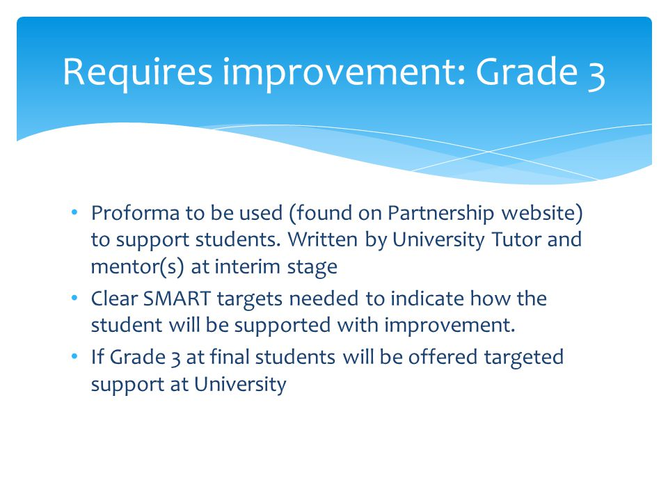 Proforma to be used (found on Partnership website) to support students.