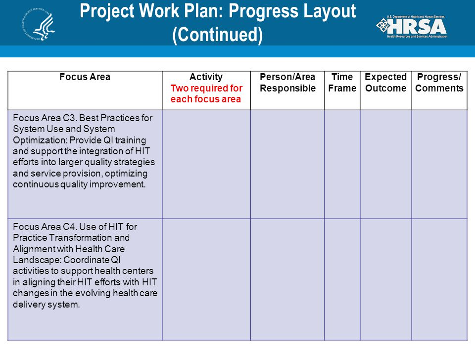 Project Work Plan: Progress Layout (Continued) Focus AreaActivity Two required for each focus area Person/Area Responsible Time Frame Expected Outcome Progress/ Comments Focus Area C3.