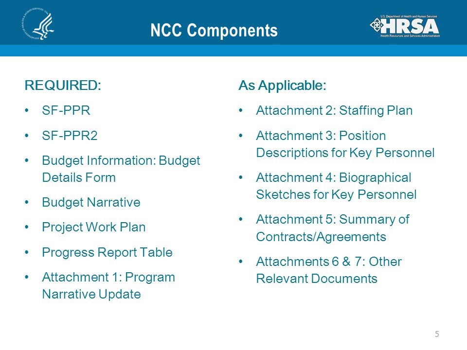 NCC Components REQUIRED: SF-PPR SF-PPR2 Budget Information: Budget Details Form Budget Narrative Project Work Plan Progress Report Table Attachment 1: Program Narrative Update As Applicable: Attachment 2: Staffing Plan Attachment 3: Position Descriptions for Key Personnel Attachment 4: Biographical Sketches for Key Personnel Attachment 5: Summary of Contracts/Agreements Attachments 6 & 7: Other Relevant Documents 5