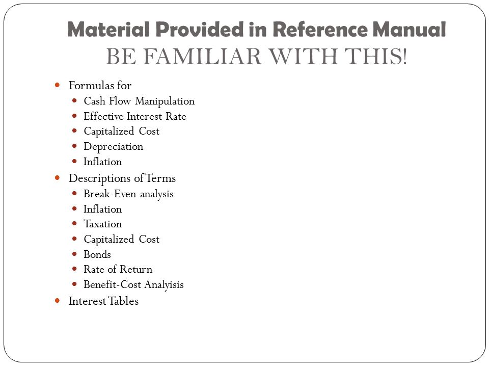 Material Provided in Reference Manual BE FAMILIAR WITH THIS.