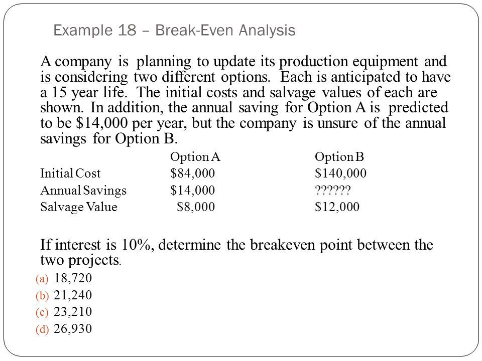Example 18 – Break-Even Analysis A company is planning to update its production equipment and is considering two different options.