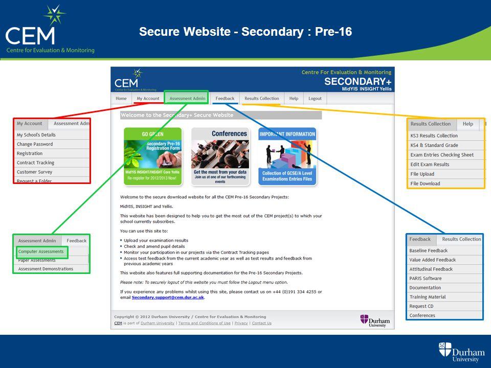 Secure Website - Secondary : Pre-16
