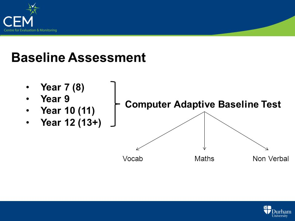 Baseline Assessment Year 7 (8) Year 9 Year 10 (11) Year 12 (13+) Computer Adaptive Baseline Test VocabMathsNon Verbal