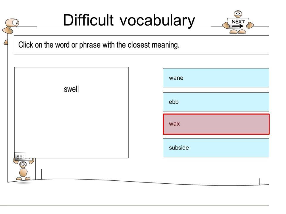 Difficult vocabulary