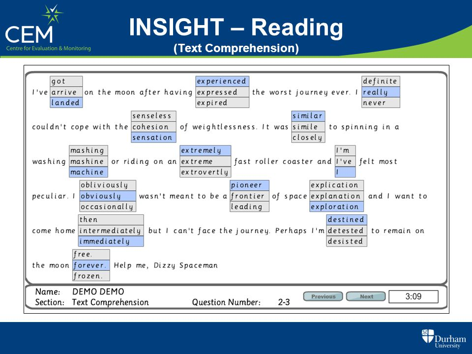 INSIGHT – Reading (Text Comprehension)