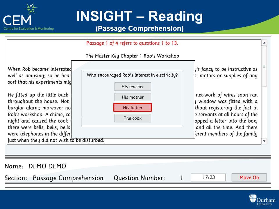 INSIGHT – Reading (Passage Comprehension)