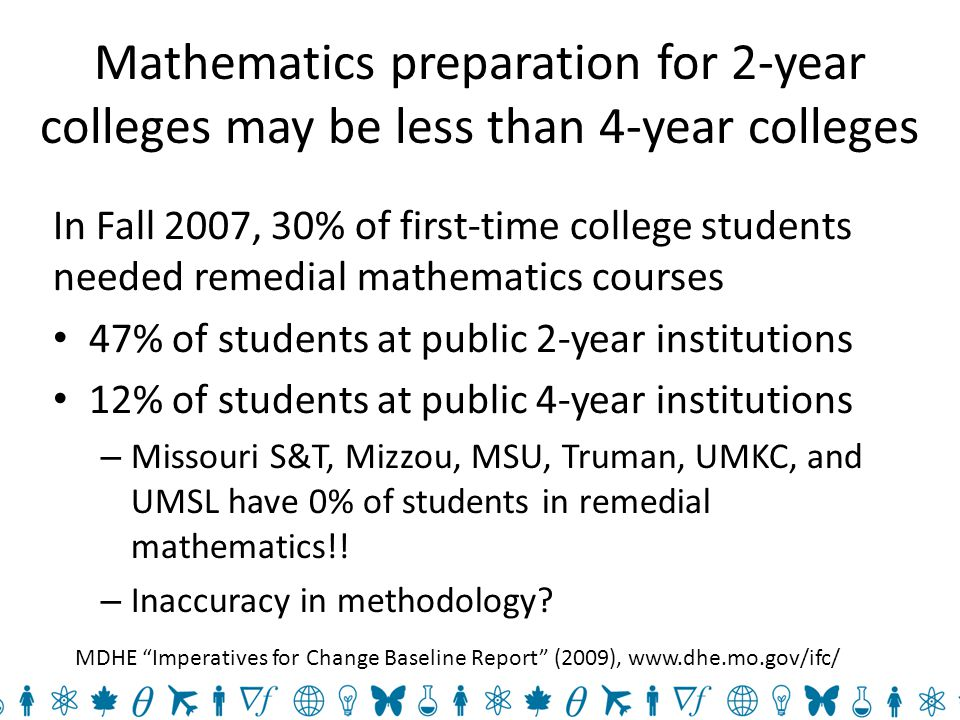 Mathematics preparation for 2-year colleges may be less than 4-year colleges In Fall 2007, 30% of first-time college students needed remedial mathematics courses 47% of students at public 2-year institutions 12% of students at public 4-year institutions – Missouri S&T, Mizzou, MSU, Truman, UMKC, and UMSL have 0% of students in remedial mathematics!.