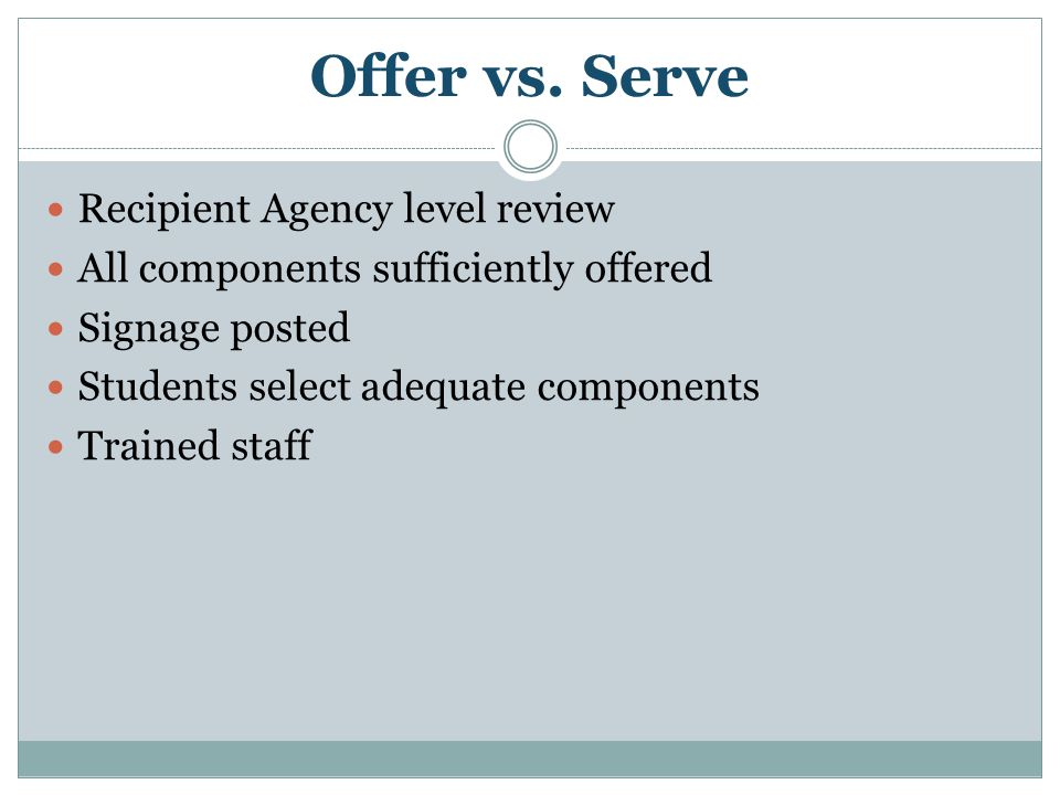 Offer vs. Serve Recipient Agency level review All components sufficiently offered Signage posted Students select adequate components Trained staff