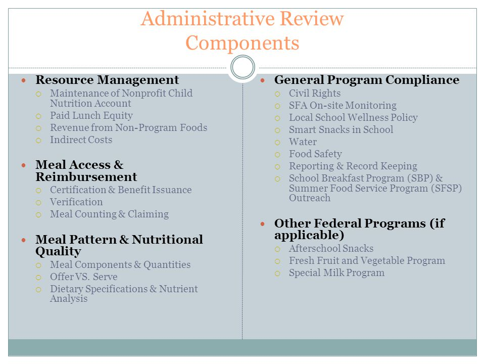 Administrative Review Components Resource Management  Maintenance of Nonprofit Child Nutrition Account  Paid Lunch Equity  Revenue from Non-Program