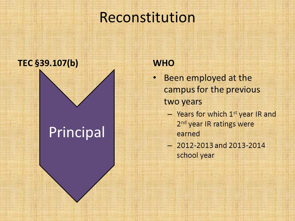 Reconstitution TEC §39.107(b)WHO Been employed at the campus for the previous two years – Years for which 1 st year IR and 2 nd year IR ratings were earned – 2012-2013 and 2013-2014 school year Principal