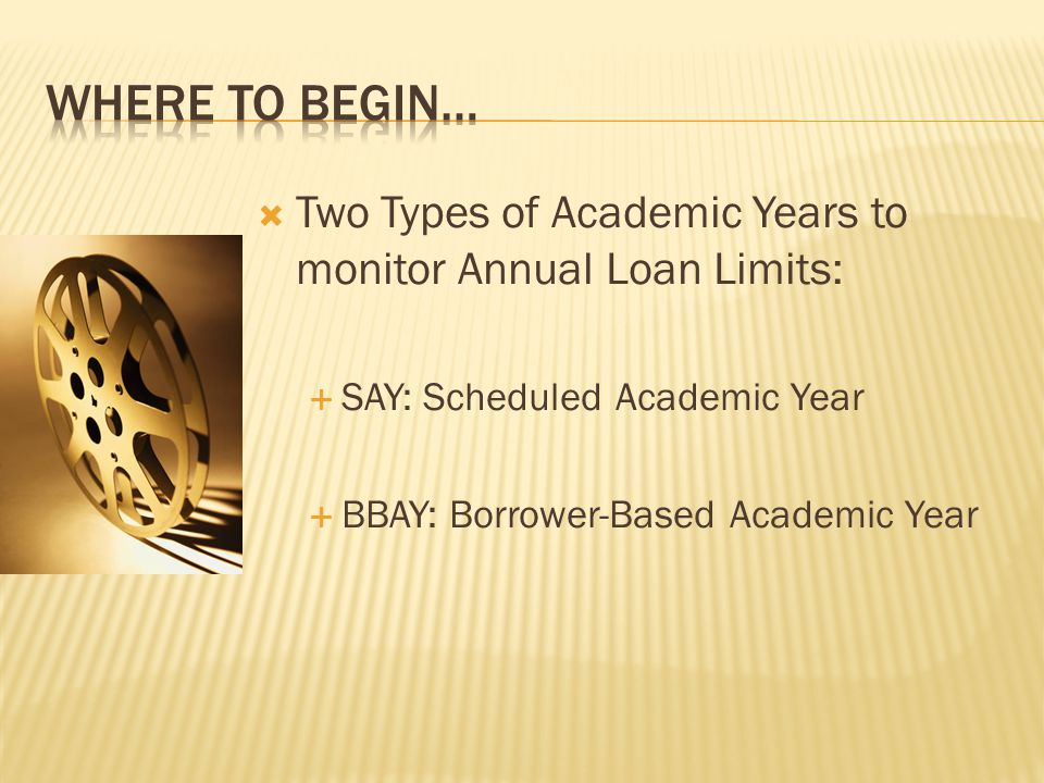 Two Types of Academic Years to monitor Annual Loan Limits:  SAY: Scheduled Academic Year  BBAY: Borrower-Based Academic Year
