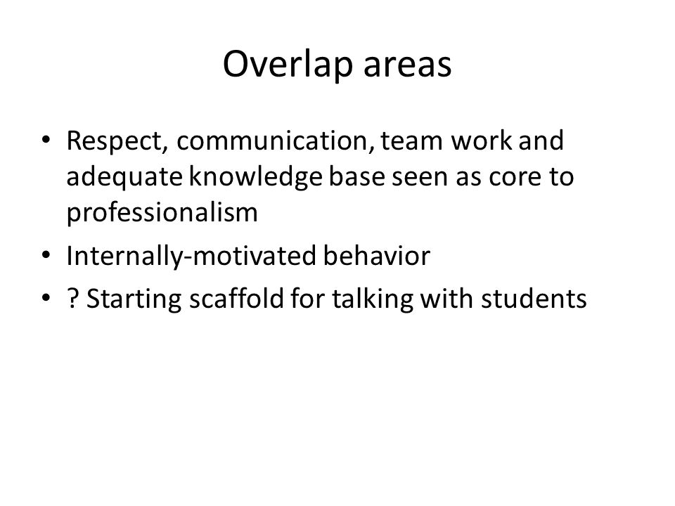 Overlap areas Respect, communication, team work and adequate knowledge base seen as core to professionalism Internally-motivated behavior ? Starting s