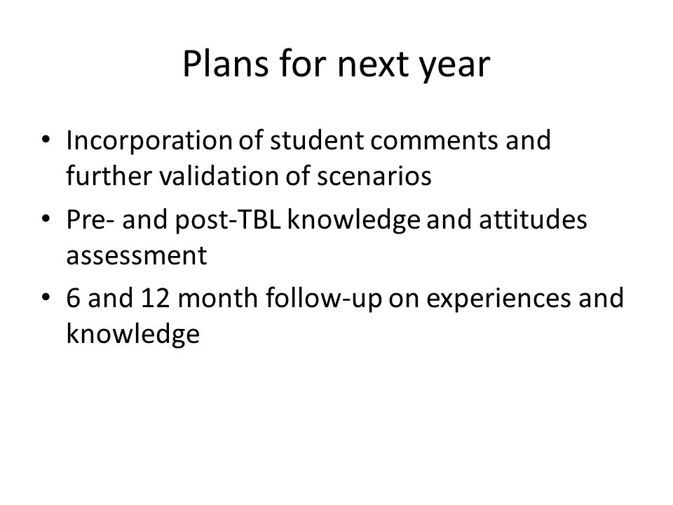 Plans for next year Incorporation of student comments and further validation of scenarios Pre- and post-TBL knowledge and attitudes assessment 6 and 1