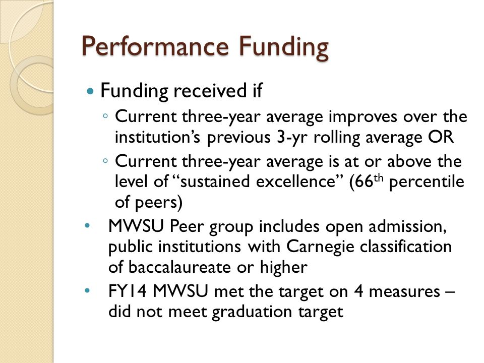Performance Funding Funding received if ◦ Current three-year average improves over the institution's previous 3-yr rolling average OR ◦ Current three-year average is at or above the level of sustained excellence (66 th percentile of peers) MWSU Peer group includes open admission, public institutions with Carnegie classification of baccalaureate or higher FY14 MWSU met the target on 4 measures – did not meet graduation target
