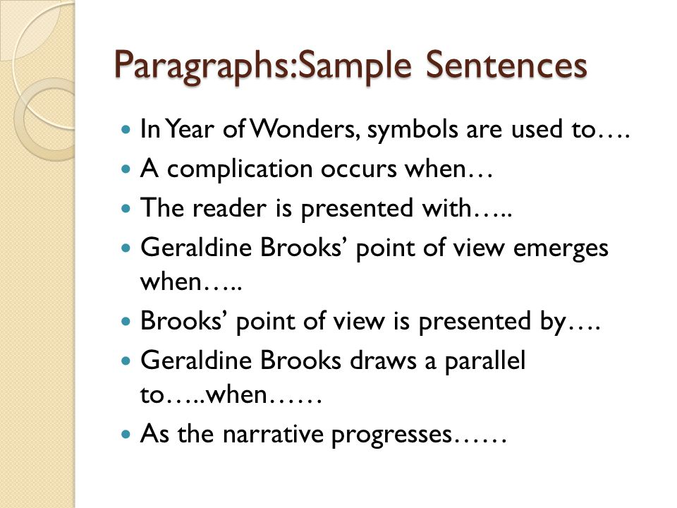 Paragraphs:Sample Sentences In Year of Wonders, symbols are used to…. A complication occurs when… The reader is presented with….. Geraldine Brooks' po