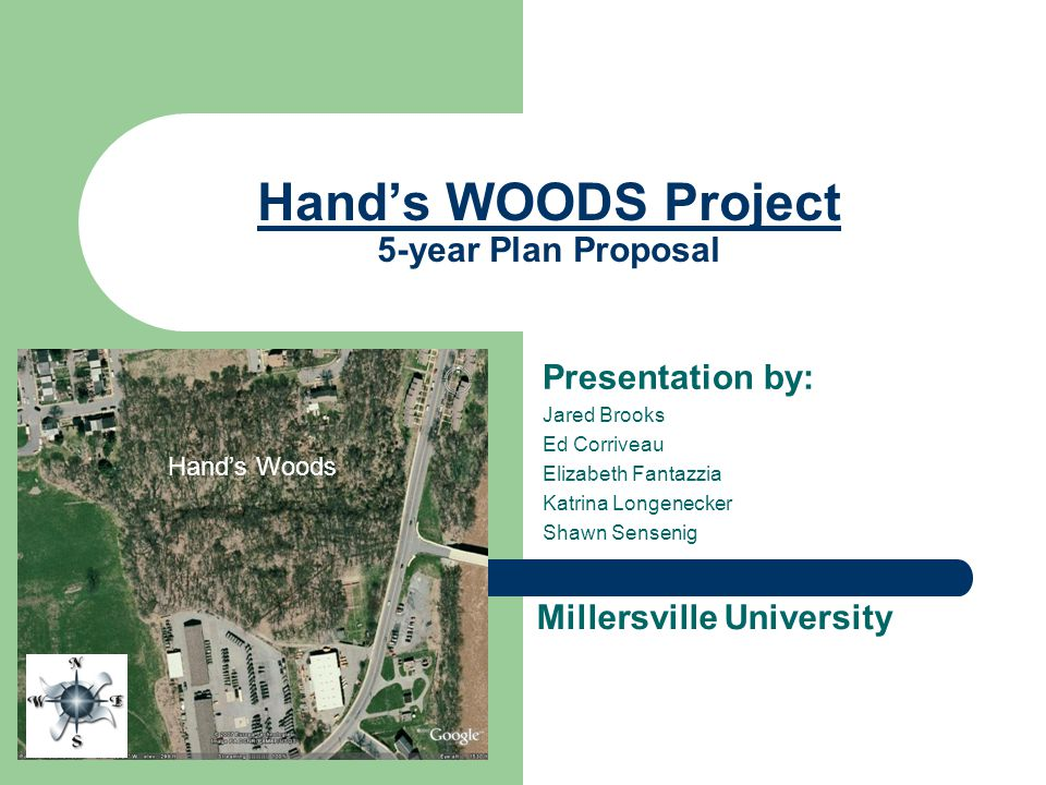 Hand's WOODS Project 5-year Plan Proposal Presentation by: Jared Brooks Ed Corriveau Elizabeth Fantazzia Katrina Longenecker Shawn Sensenig Hand's Woods Millersville University