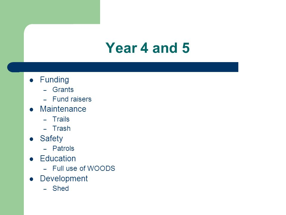 Year 4 and 5 Funding – Grants – Fund raisers Maintenance – Trails – Trash Safety – Patrols Education – Full use of WOODS Development – Shed