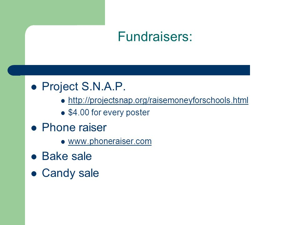 Fundraisers: Project S.N.A.P.