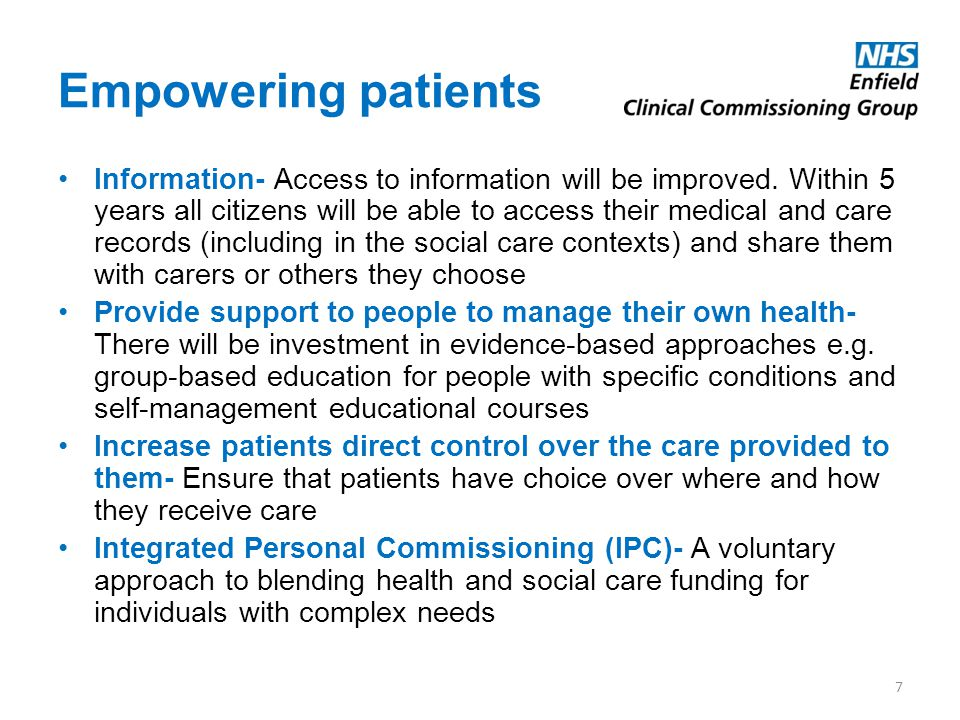 Empowering patients Information- Access to information will be improved. Within 5 years all citizens will be able to access their medical and care rec