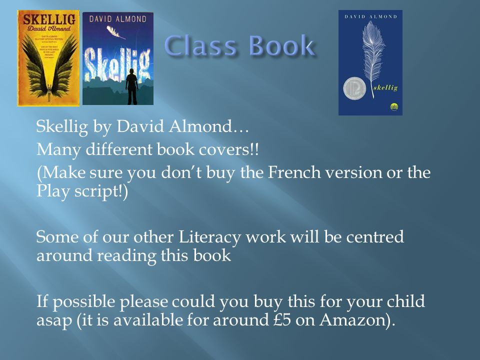 Skellig by David Almond… Many different book covers!.