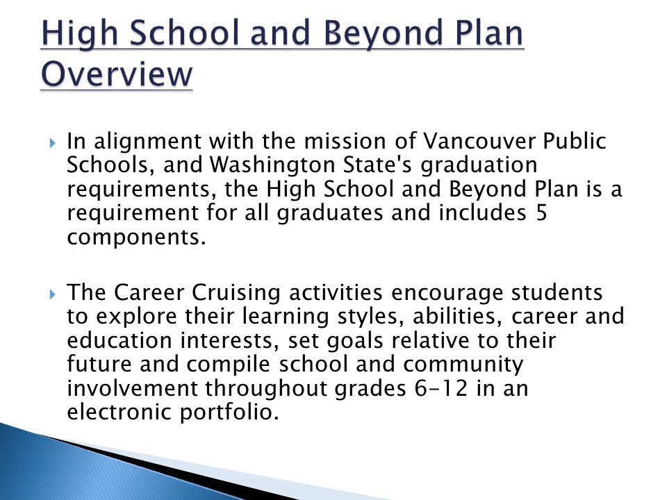  In alignment with the mission of Vancouver Public Schools, and Washington State s graduation requirements, the High School and Beyond Plan is a requirement for all graduates and includes 5 components.