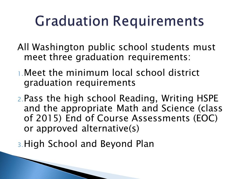 All Washington public school students must meet three graduation requirements: 1. Meet the minimum local school district graduation requirements 2. Pa