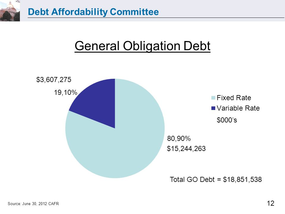 Debt Affordability Committee 12 General Obligation Debt $15,244,263 $3,607,275 Total GO Debt = $18,851,538 Source: June 30, 2012 CAFR