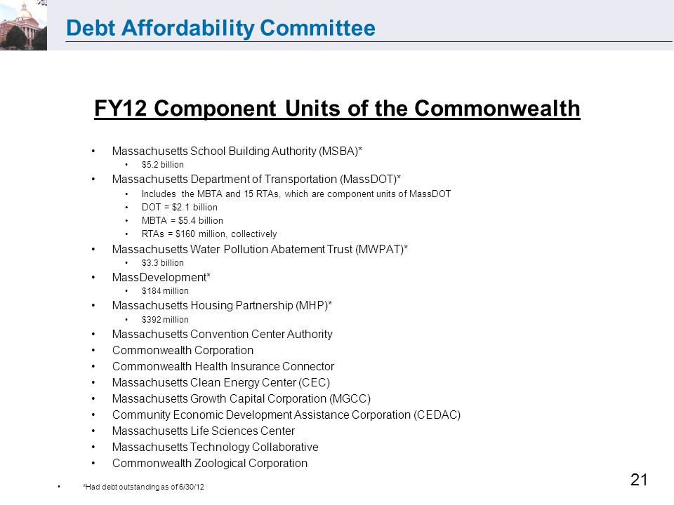 Debt Affordability Committee 21 FY12 Component Units of the Commonwealth Massachusetts School Building Authority (MSBA)* $5.2 billion Massachusetts Department of Transportation (MassDOT)* Includes the MBTA and 15 RTAs, which are component units of MassDOT DOT = $2.1 billion MBTA = $5.4 billion RTAs = $160 million, collectively Massachusetts Water Pollution Abatement Trust (MWPAT)* $3.3 billion MassDevelopment* $184 million Massachusetts Housing Partnership (MHP)* $392 million Massachusetts Convention Center Authority Commonwealth Corporation Commonwealth Health Insurance Connector Massachusetts Clean Energy Center (CEC) Massachusetts Growth Capital Corporation (MGCC) Community Economic Development Assistance Corporation (CEDAC) Massachusetts Life Sciences Center Massachusetts Technology Collaborative Commonwealth Zoological Corporation *Had debt outstanding as of 6/30/12